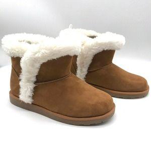 Falls Creek Carly Faux Fur Booties Brown Suede